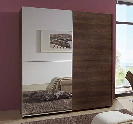 Schwebeturenschrank in Columbia-Nussbaum-Nachbildung mit 1 Spiegeltur, 2 Kleiderstangen und 2 Einlegeböden, Maße: B/H/T/ ca. 135/198/64 cm