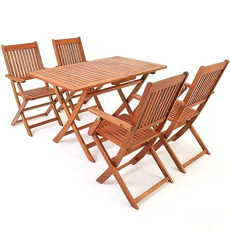 Deuba® Sitzgruppe Sydney 4+1 ✔ mit 4 klappbaren Stuhlen + Armlehnen ✔ klappbarer Tisch ✔ Akazienholz ✔ Sitzgarnitur Gartengarnitur Essgruppe ✔ Modellauswahl