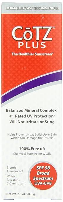 Fallene Cotz Plus SPF 58 Water Resistant UVB/UVA Sunscreen for Sensitive Skin, 2.5-Ounce Tube