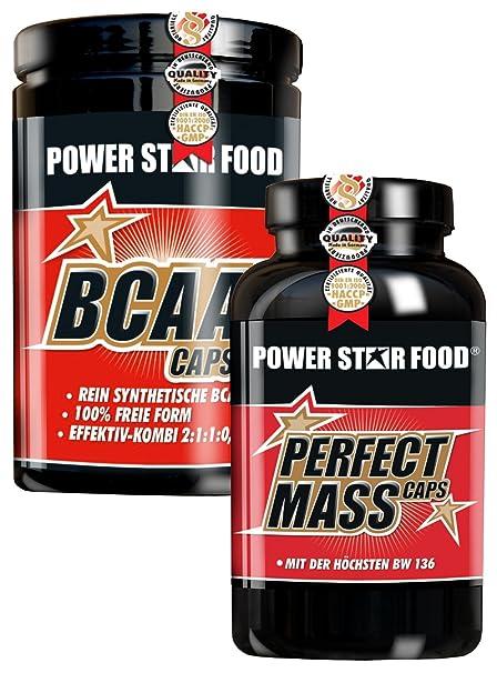 AMINOSÄUREN MUSCLE PACK, 500 Kapseln PERFECT MASS CAPS und 500 Kapseln BCAA CAPS, versorgt dich direkt vor und nach dem Training mit den besten Baustoffen