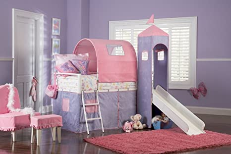 Amazon.com - Powell Princess Castle Twin Tent Bunk Bed with Slide ...