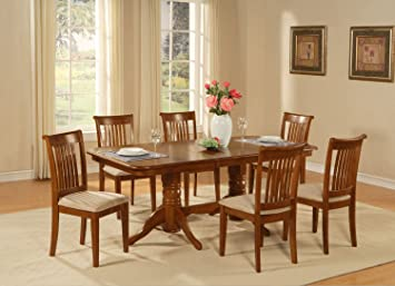 East West Furniture NAPO7-SBR-C 7-Piece Dining Table Set