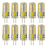 Rayhoo 10pcs Set G4 base 48-LED Light Crystal Bulb Lamps 3 Watt AC DC 12V Non-dimmable Equivalent to 20W T3Halogen Track Bulb Replacement LED Bulbs(Warm White 2800-3200K) (Color: Warm White)