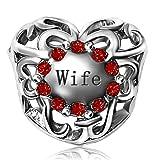 JMQJewelry Love Heart Wife Birthstone July Red Crystal Dangle Charm Beads for Bracelets