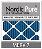 Nordic Pure 16x20x1M7-6 MERV 7 Pleated AC Furnace Air Filter, 16x20x1, Box of 6