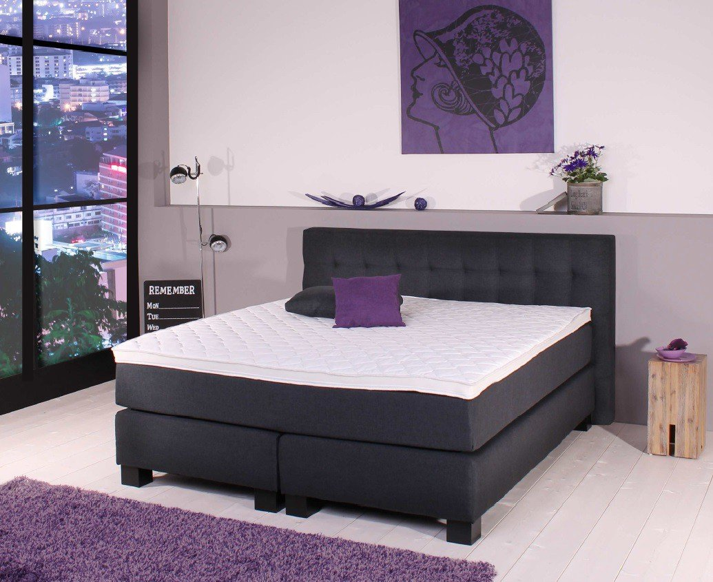 boxspringbett bx 650 xxl h4 180x200 cm anthrazit inkl topper kaufen. Black Bedroom Furniture Sets. Home Design Ideas