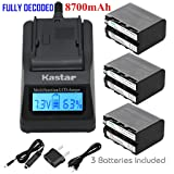 Kastar Ultra Fast Charger(3X faster) Kit and Battery (3-Pack) for Sony NP-F970 NP-F960 F960 and DCR-VX2100 HDR-AX2000 FX1 FX7 FX1000 HVR-HD1000U V1U Z1P Z1U Z5U Z7U FS100U FS700U and LED Video Light (Tamaño: 1 Fast charger + 3 batteries)