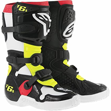 Bottes Motocross Enfant Alpinestars Tech 6s Noir-Rouge-Jaune