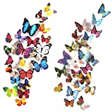 Heansun 80 PCS Wall Decal Butterfly, Wall Sticker Decals for Room Home Nursery Decor (Color: 80 PCS Multicolour)