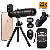 Cell Phone Camera Lens,Phone Photography Kit-Flexible Phone Tripod +Remote Shutter +4 in 1 Lens Kit-High Power 22X Monocular Telephoto Lens, Fisheye, Macro & Wide Angle Lens for Smartphone (Color: Black)