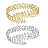 MANZHEN Fashion Gold Tone Swire Leaf Upper Arm Bracelet Armlet Cuff Bangle Armband Adjustable (Gold+Silver) (Color: Gold+Silver)