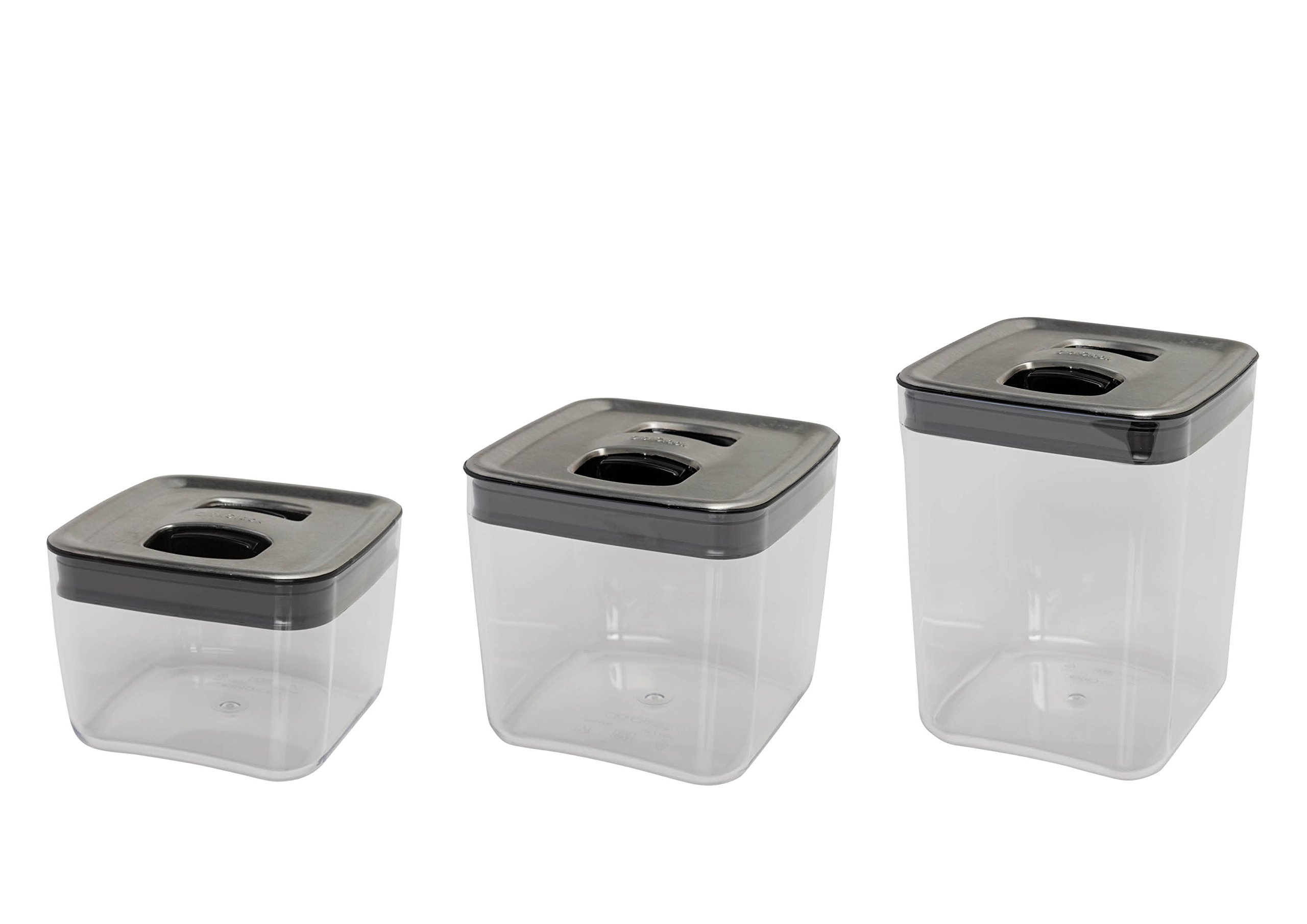 click clack cube storage containers with stainless steel lids set of 3 ebay. Black Bedroom Furniture Sets. Home Design Ideas