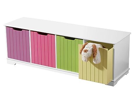Premier Housewares–2401519armario de almacenamiento con 4cajas colorées en MDF blanco
