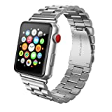 SWEES Stainless Steel Metal Bands Compatible iWatch 42mm Apple Watch Series 3, Series 2, Series 1, Sports & Edition, Replacement Metal Link Strap Double Button Butterfly Folding Clasp Men, Silver (Color: Stainless Steel Metal - Silver)