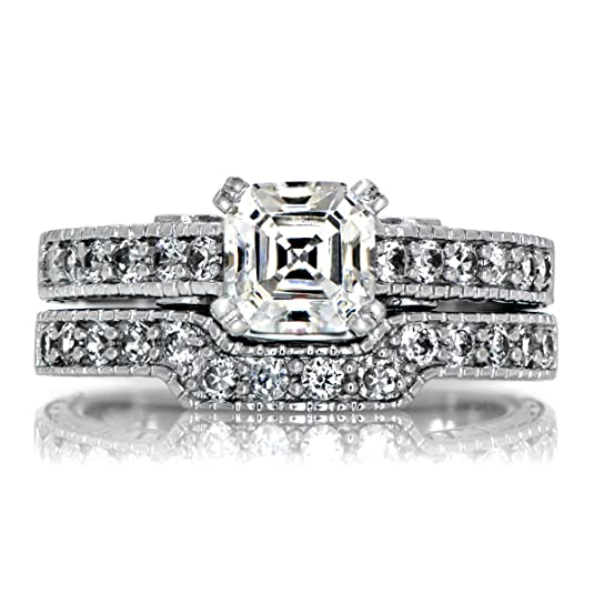 Shayla's Asscher Cut CZ Wedding Ring Set with Pink Heart