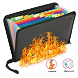 Fireproof File Folder Waterproof File Organizer,13 Pockets Fire Proof Water Resistant Document Bag Money Briefcase Filing Folder,Non-Itchy Silicone Coated A4 Letter Size Safe Storage Pouch with Zipper (Color: Fireproof-13)