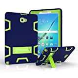 Samsung Galaxy Tab A 10.1 with S pen Case,Jeccy 3in1 Full-body Shock Proof Hybrid Heavy Duty Armor Defender Protective Case,Silicone Skin Hard Plastic Case for Samsung Tab A 10.1 with S pen P580/P585 (Color: Navy-Green)
