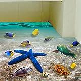 Wall Sticker ZTY66, 3D Beach Floor/Mural Sticker Removable Vinyl Art Room Decal (A) (Color: A, Tamaño: 60*90cm)