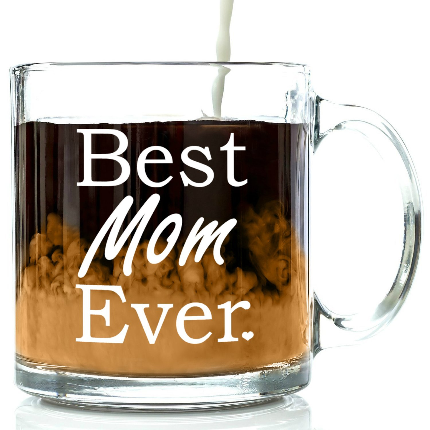 Best Mom Ever Glass Coffee Mug 13 oz – Top Mother's Day Gifts – Unique Novelty Birthday Gift From Kids, Son or Daughter – Perfect New Present Idea For a Mother, Wife, Sister, Grandma or In-law