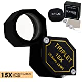 15x Magnifier Jewelry Loupe 20.5mm Triplet Lens Optical Glass Pocket Gem Magnifying Tool for Jeweler, Stamp Philatelist, Coin Numismatic, Achromatic Black Hexagonal Design Kit Set (Color: 15x Magnification Power)
