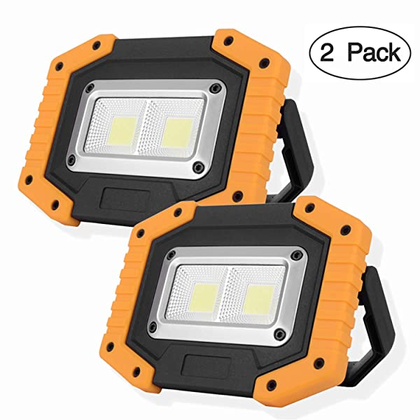OTYTY 2 COB 30W 1500LM LED Work Light, Rechargeable Portable Waterproof LED Flood Lights for Outdoor Camping Hiking Emergency Car Repairing and Job Site Lighting (2 Pack) (Color: Yellow, Tamaño: 2 Pack)