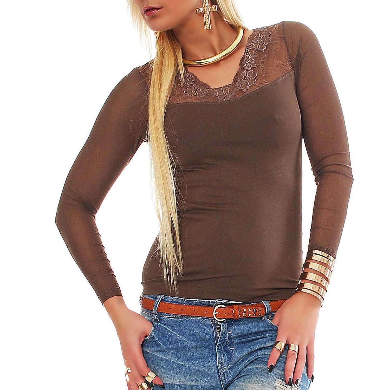 Taillierter Damen Langarm Pullover mit Spitze