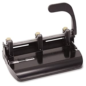 Officemate Heavy Duty Adjustable 2-3 Hole Punch with Lever Handle, 32-Sheet Capacity, Black (90078) (Pack of 2) (Tamaño: Pack of 2)