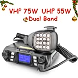 Ham Radio Transceiver VHF 75W UHF 55W Mobile Radio Dual Band Quad Standby Transceiver Amateur Radio Transceiver for Car by SOCOTRAN with Programming Cable & Software Black (Color: black, Tamaño: Medium)