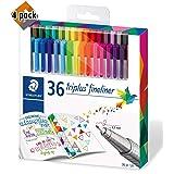 Staedtler Color Pen Set, Set of 36 Assorted Colors (Triplus Fineliner Pens) - 4 Pack