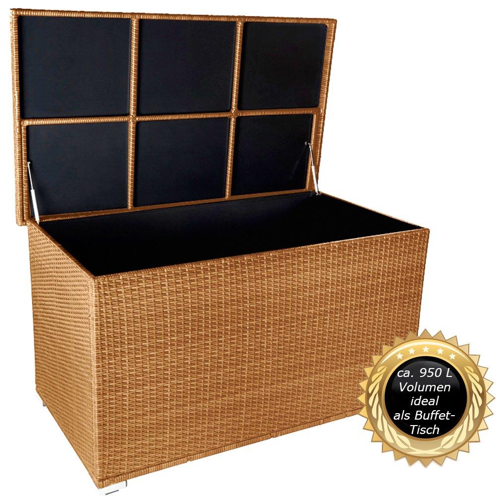"""PREMIUM """"Venezia"""" 950 L XXL Kissenbox (es regnet nicht rein) L 146 cm x B 83 cm x H 80 cm ideal als Buffet Tisch nutzbar mit 2 x Gasdruckstoßdämpfer und eingebauter Tischplatte Farbe: Natur günstig bestellen"""