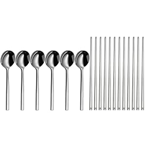 WMF 1294036040 6 Paar Chopsticks + 6 Löffel  Edelstahl    Rezension
