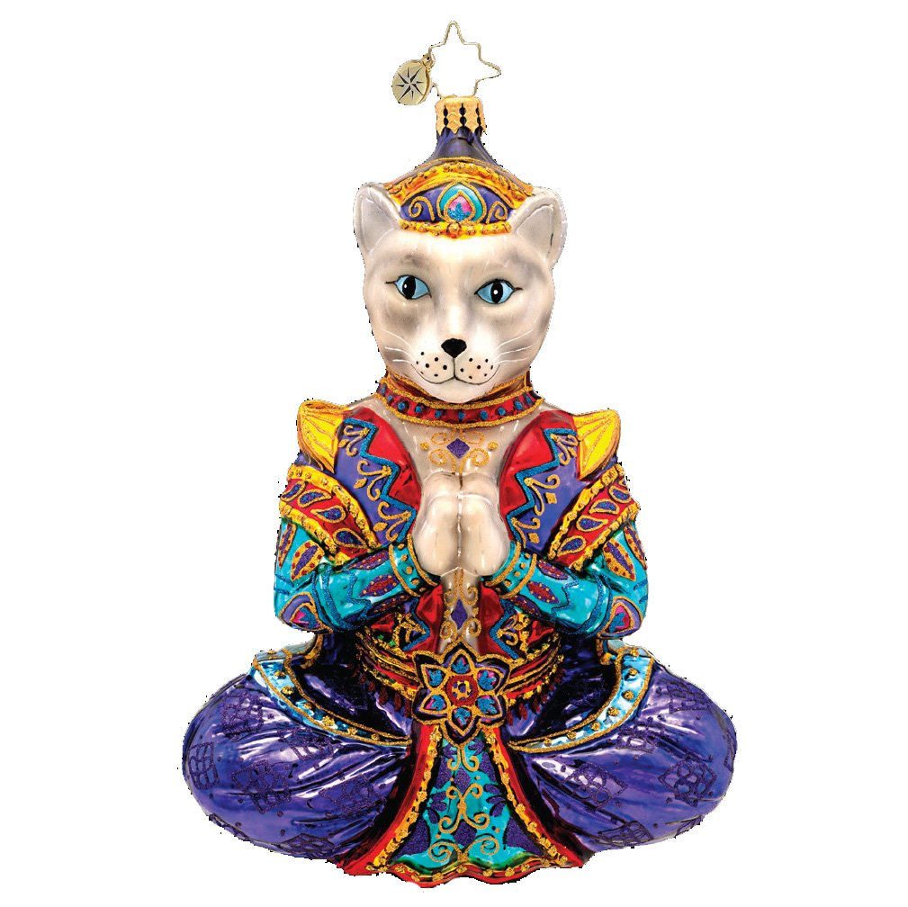 Christopher Radko Namaste Ornament Featuring a Cat