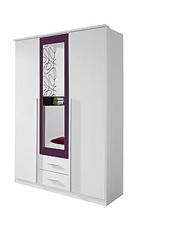 Rauch Kleiderschrank 3-turig mit Spiegel Weiß Alpin, Absetzung Brombeer Nachbildung, BxHxT 136x199x56 cm