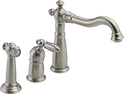 Delta 155-SS-DST Victorian Single Handle Kitchen Faucet with Spray, Stainless
