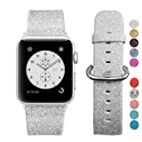 MIFFO Apple Watch Band 38mm, Leather iWatch Strap Extreme Deluxe Shiny Bling Glitter Leather Bracelet Wristband for Apple Watch Series 1, Series 2, Series 3 Sport Edition (38mm Silver) (Color: 38mm Silver)