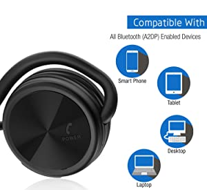 Besign SH03 Bluetooth 4.1 Headphones, Wireless Stereo Sports Earphones with Mic for Wireless Music Streaming and Hands-Free Calling, Up to 25 Hours Music time (Color: Black, Tamaño: 15x12x2.5cm)