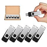 TOPSELL 5 Pack 32GB USB Flash Drives Flash Drive Flash Memory Stick Swivel USB 2.0 (32G, 5PCS, Black)