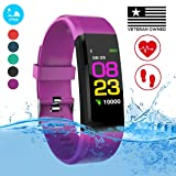 Burn-Rate Fitness Tracker, Heart Rate Monitor - Smart Watches for Women & Men, Color Smart Watch Bracelet. Reloj Inteligente Pedometer, Distance Activity for Android & iPhones iOS (Color: Purple Sky)