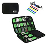 Travel Universal Cable Organizer Electronics Accessories Cases For Various USB, Phone, Charger and Cable, black (Color: BLACK)