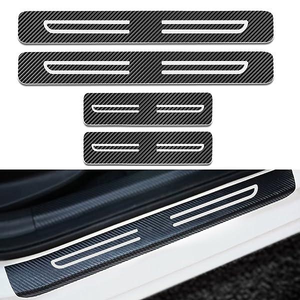 SENYAZON Challenger Car Door Sill Decoration Decal Sticker Scuff Plate for Dodge Challenger Accessories Blue