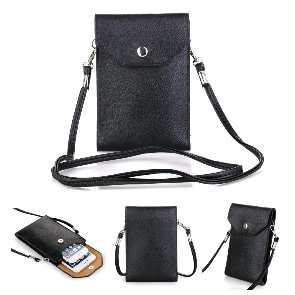 "Bsoam Simple Stylish Crossbody Cell Phone Bag Premium PU Leather Cellphone Case Cover Mini Shoulder Sling Pouch Girls Purse for Apple iPhone 6 Plus iPhone 6/5S/5C/4S Samsung Galaxy S3/S4/S5 HTC One M7 M8 Nokia Google Blackberry Mobiles and other Smartphones Under 5.5"" (c Black)"