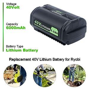 Elefly OP4050A 6.0AH 40V Lithium Replacement Battery for Ryobi 40-Volt Li-ion Cordless Power Tools Battery OP4050A OP4015 OP4026 OP40201 OP40261 OP4030 OP40301 OP4040 OP40401 OP4050 OP40501 OP40601 (Color: Grey, Tamaño: OP4050A 40V Lithium Replacement Battery for Ryobi)