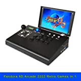 10 Inch Arcade Console LCD Screen Metal Casing Pandora Box 9D 2222 in 1 Game 1080P Cabinet Single Player 1Up Stick Arcade Emulator Machine Joystick for PC/TV/PS can Rechargable Plug and Play for Kids