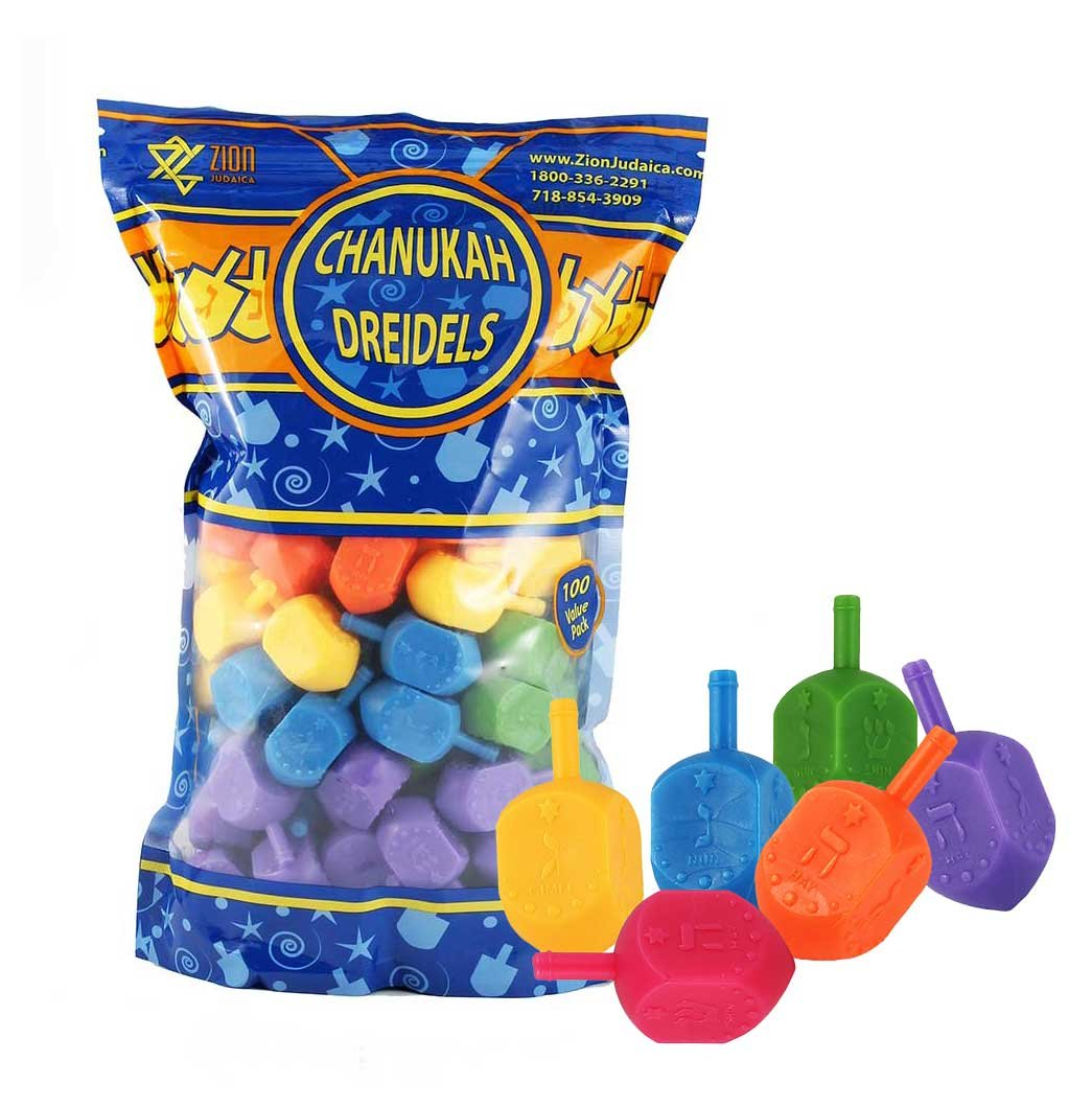 Zion Judaica 100 Medium Plastic Hanukkah Dreidels with English Transliteration - Ziplock Bag