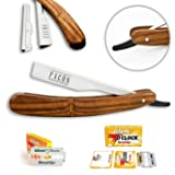 Facón Professional Wooden Straight Edge Barber Razor/Rasoirs/Rasoi - Salon Quality Cut Throat Shavette - Japanese Stainless Steel - Top Selling Model Limited Edition - Includes 5 DE Razor Blades (Tamaño: Slideout)