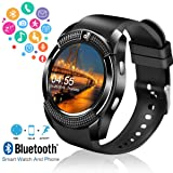 Smart Watch,Bluetooth Smartwatch Touch Screen Wrist Watch with Camera/SIM Card Slot,Waterproof Smart Watch Sports Fitness Tracker Compatible with Android iOS Phones Samsung Huawei for Kids Women Men (Color: V8-black)