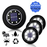 THINKIDEA Solar Ground Lights,Pathway Disk Lights,Outdoor Solar Powered Waterproof Landscape Spike Light for Deck Garden Yard Patio Path Pool Driveway Walkway (White 4 Pack 8-LED)