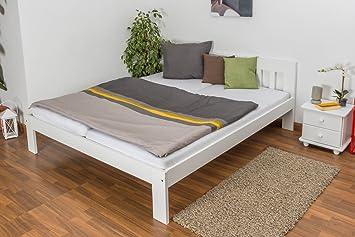 Holzbett / Gästebett Kiefer massiv Vollholz weiß lackiert 75, inkl. Lattenrost - Abmessung 180 x 200 cm