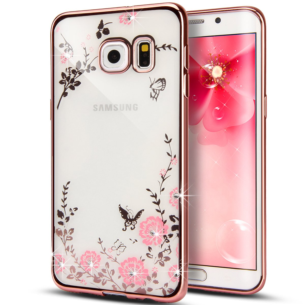 Galaxy S6 Edge Case,NSSTAR Pink Butterfly Floral Flower Bling Crystal Rhinestone Diamonds Clear Rubber Rose Plating Frame Soft TPU Silicone Protective Bumper Case Cover for Samsung Galaxy S6 Edge