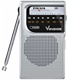 AM / FM Battery Operated Portable Pocket Radio - Best reception and Longest Lasting. AM FM Compact transistor Radios Player Operated by 2 AA Battery, Mono Headphone Socket, by Vondior (Silver)